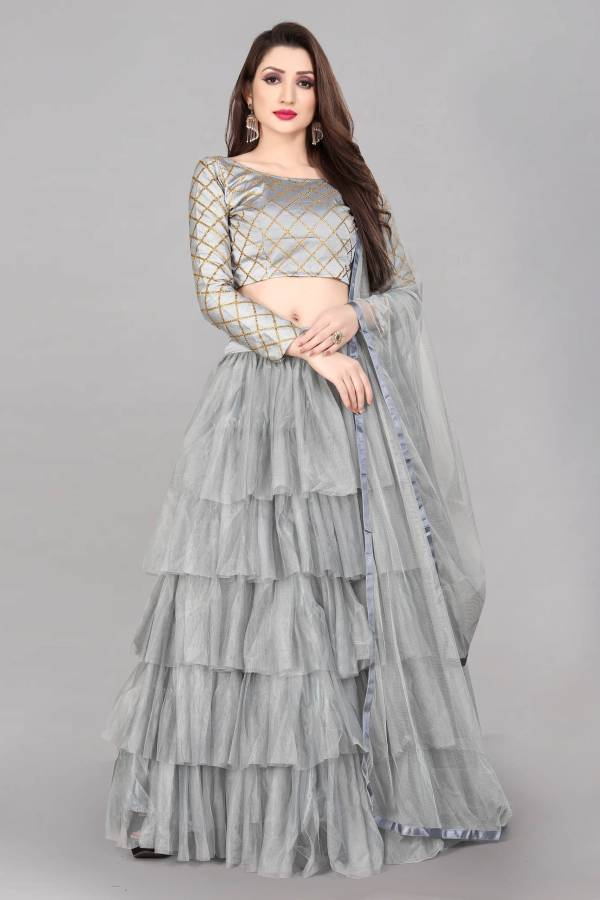 Checkered Semi Stitched Lehenga Choli