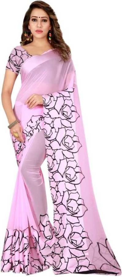 Floral Print Daily Wear Satin Blend Saree Price in India