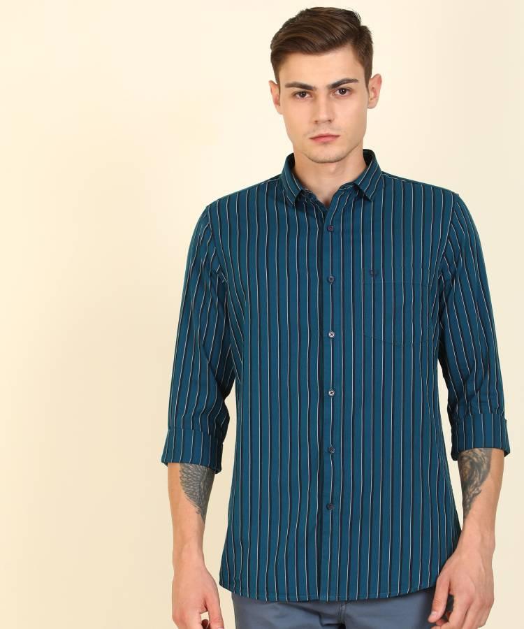 Men Super Slim Fit Striped Button Down Collar Casual Shirt Price in India