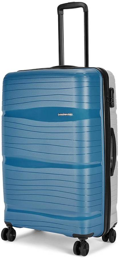 Large Check-in Luggage (75 cm) - Nicobar Hard-Sided Polypropylene Check-in Luggage Blue and Grey 28 inch |75cm Trolley Bag - Blue, Grey