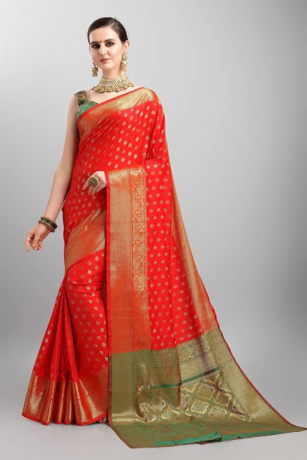 Embellished Banarasi Silk Blend Saree Price in India