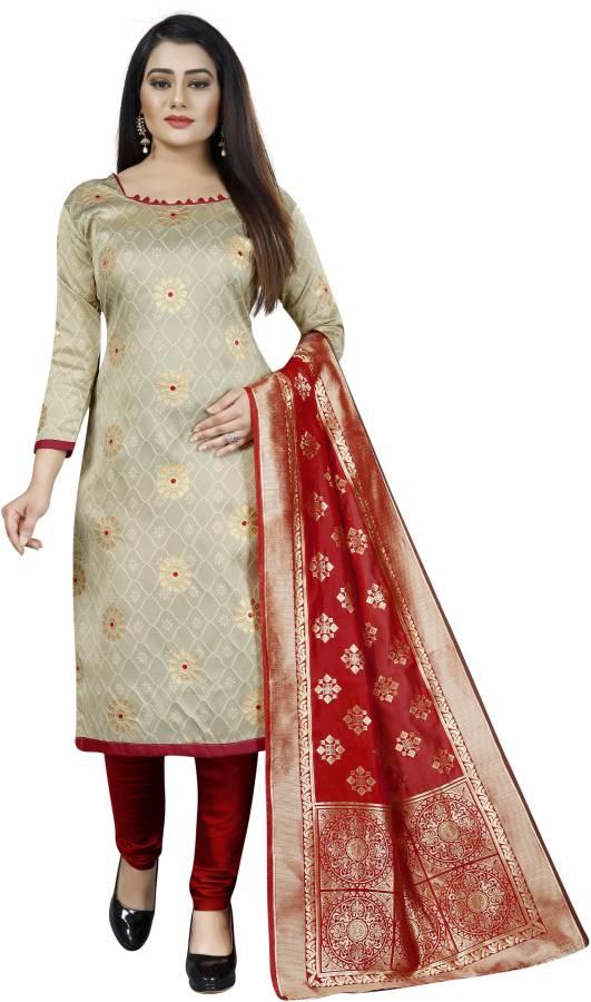 Cotton Silk Blend Self Design Salwar Suit Material Price in India
