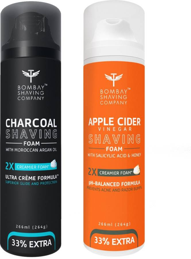 BOMBAY SHAVING COMPANY Activated Charcoal Shaving Foam with Argan Oil and 2X Creamier Formulae for Superior Glide and Protection 266 ml (33% Extra) (266 ml) & Apple Cider Vinegar Shaving Foam with Apple Cider Vinegar, Salicylic Acid, Honey and 2X Creamie