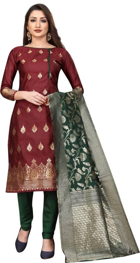 INDIAN BEAUTIFUL Cotton Silk Blend Self Design Salwar Suit Material