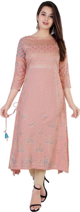 Women Printed Rayon Flared Kurta Price in India