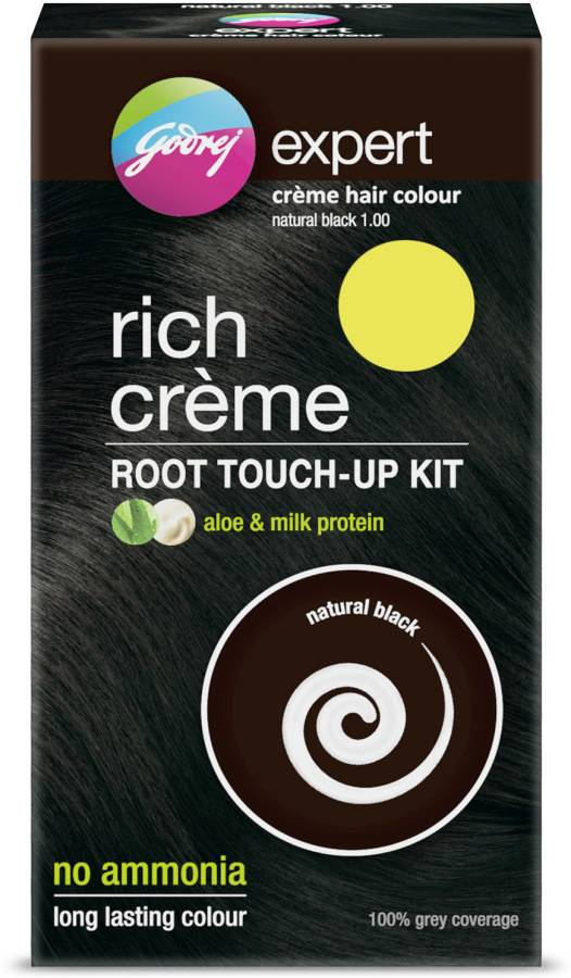 Godrej Expert Rich Creme Hair Colour - Natural Black 1,Root Touch up Kit , Natural Black
