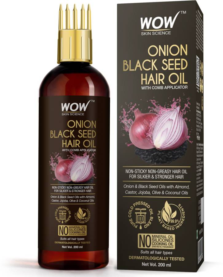 WOW SKIN SCIENCE Onion Oil - Black Seed Onion Hair Oil - WITH COMB APPLICATOR - Controls Hair Fall - NO Mineral Oil, Silicones, Cooking Oil & Synthetic Fragrance - 200 ml Hair Oil Price in India