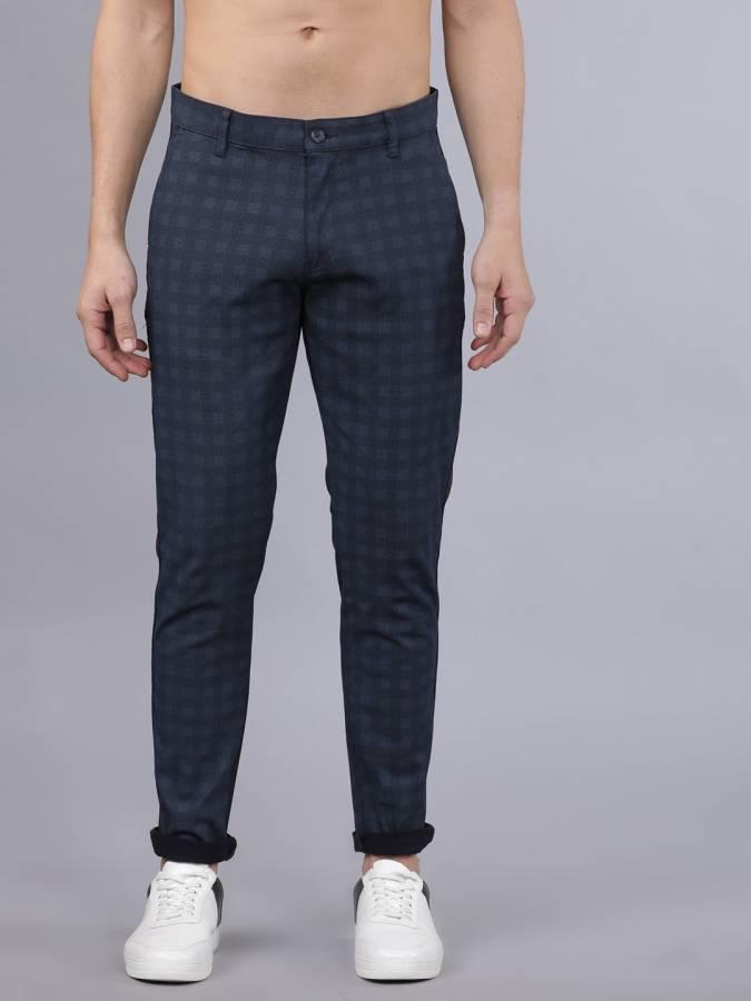 Slim Fit Men Multicolor Cotton Lycra Blend Trousers