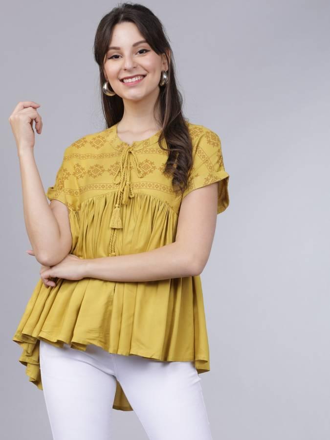 Casual Regular Sleeves Printed Women Yellow Top