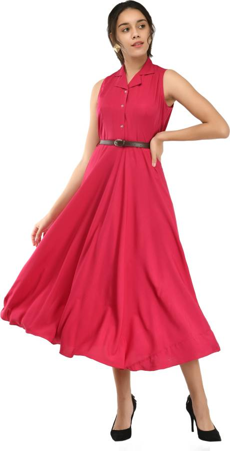 Women Fit and Flare Pink Dress With Mask Price in India