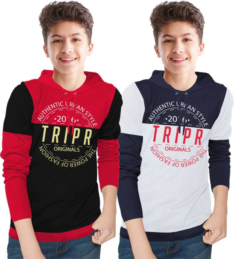 Boys Printed Cotton Blend T Shirt Price in India