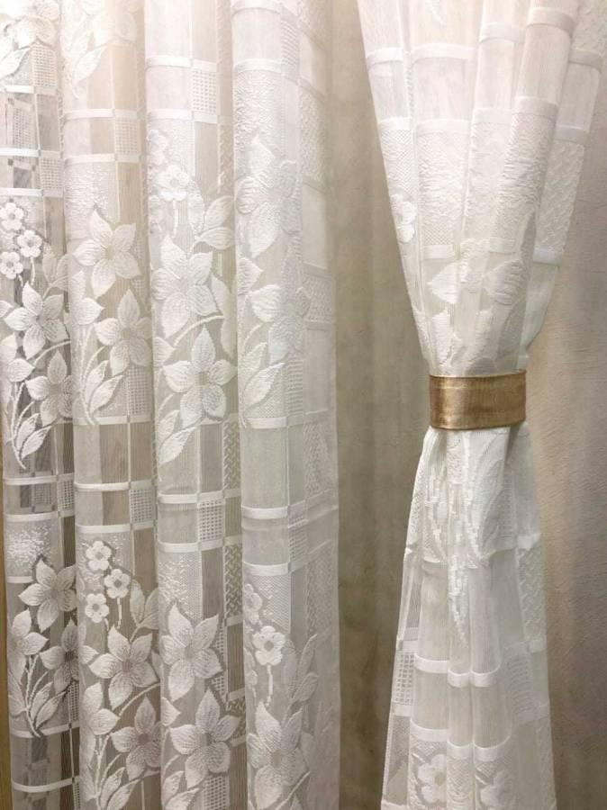 SR Collection 214 cm (7 ft) Net Door Curtain (Pack Of 2)