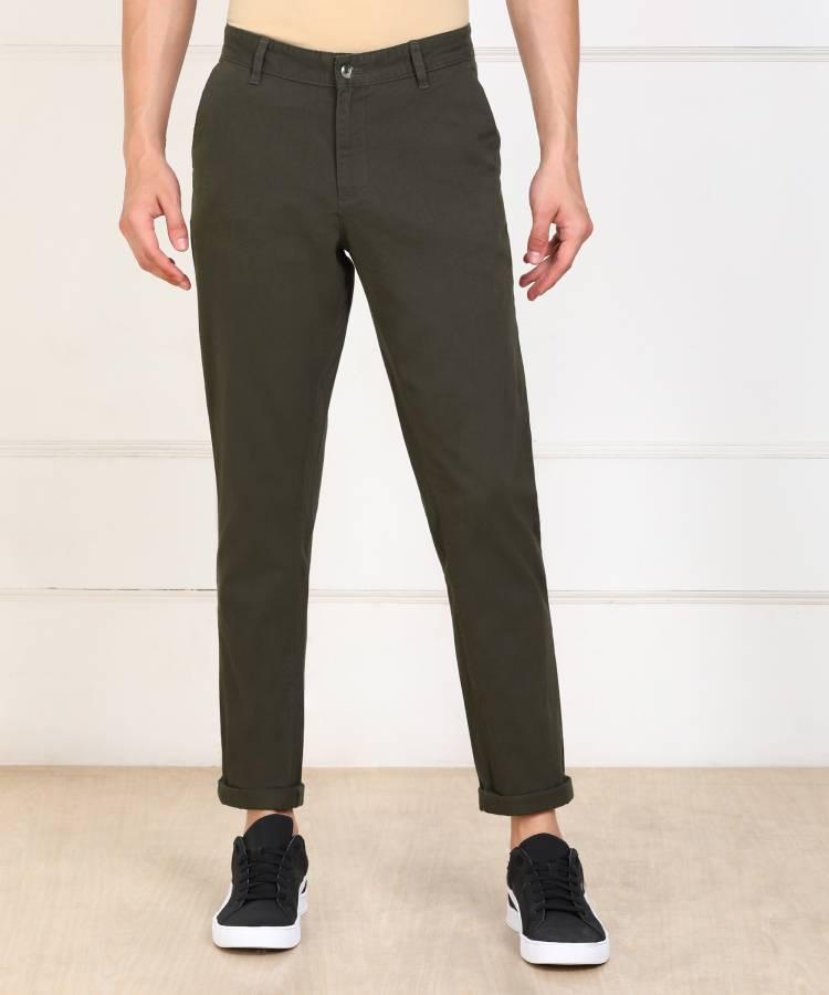 Slim Fit Men Dark Green Pure Cotton Trousers