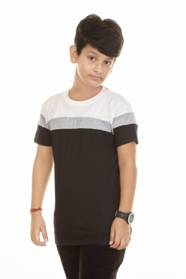 Boys Colorblock Cotton Blend T Shirt