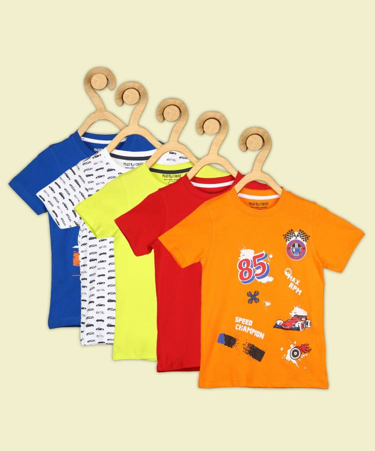 Boys Printed, Solid Pure Cotton T Shirt Price in India