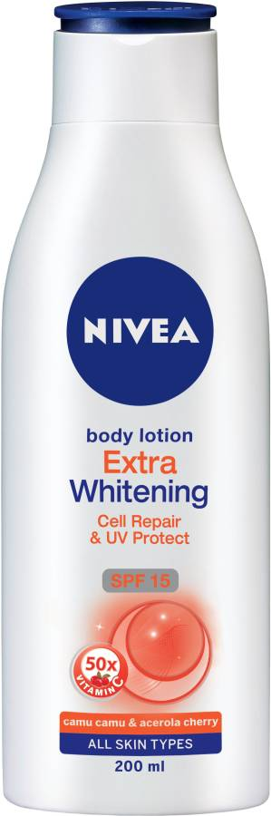 NIVEA Body Lotion, Extra Whitening Cell Repair, SPF 15 & 50x Vitamin C Price in India