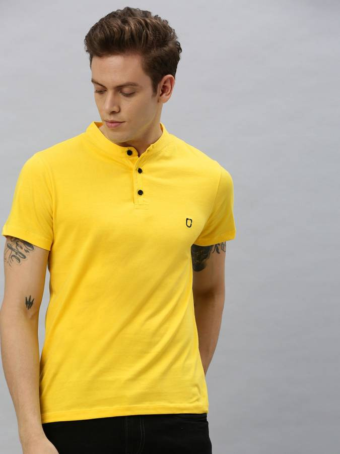 Solid Men Mandarin Collar Yellow T-Shirt Price in India