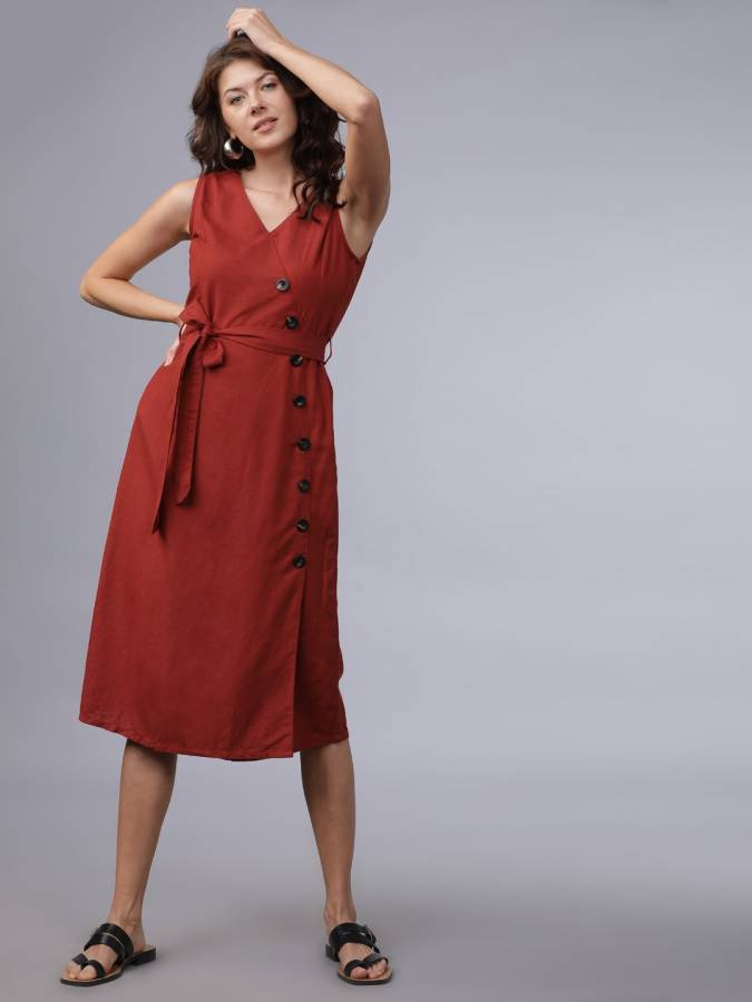 Women A-line Brown Dress Price in India