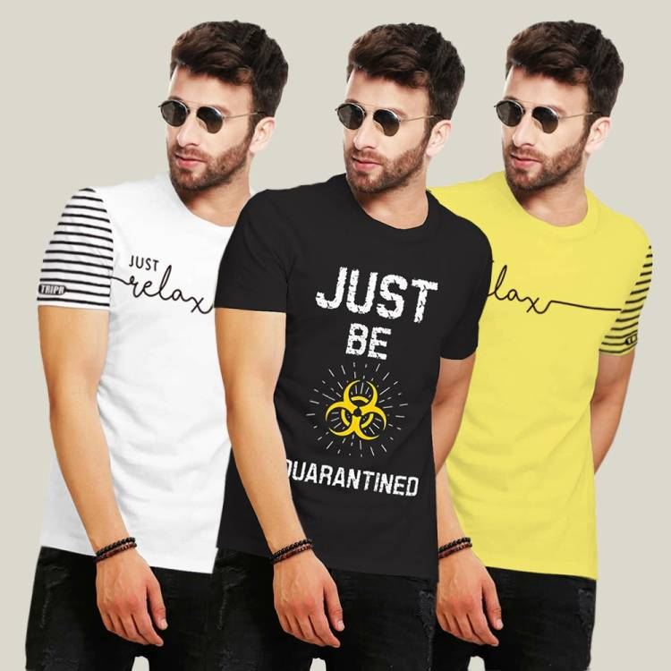 Printed Men Round Neck Multicolor T-Shirt