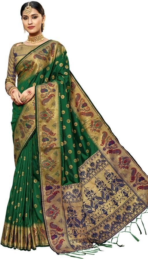 Embellished, Woven Paithani Poly Silk, Cotton Silk Saree Price in India