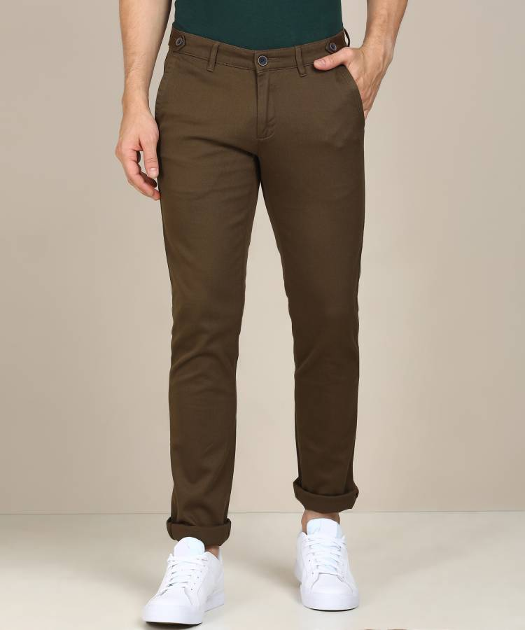 Slim Fit Men Brown Polycotton Trousers