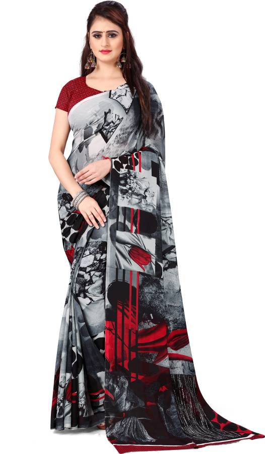 Ombre, Geometric Print, Floral Print Daily Wear Georgette Saree Price in India