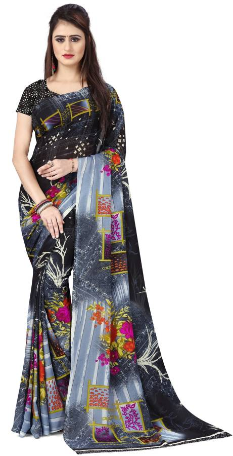 Geometric Print, Ombre, Floral Print Daily Wear Georgette Saree Price in India