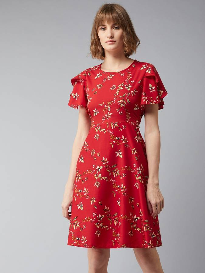 Women Fit and Flare Red Dress Price in India
