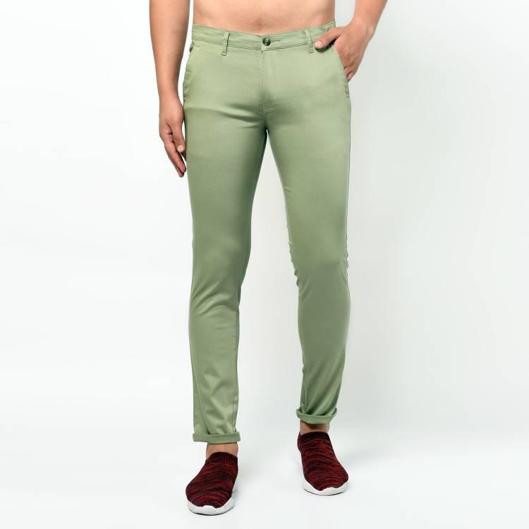 Slim Fit Men Light Green Cotton Blend Trousers