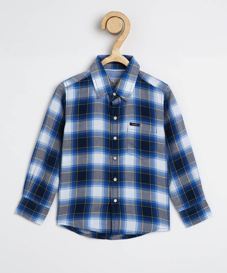 Boys Regular Fit Checkered Casual Shirt