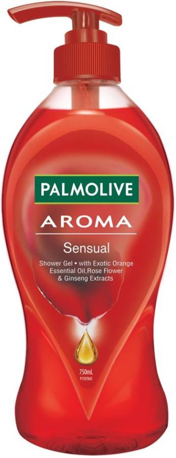 PALMOLIVE Aroma Sensual Body Wash, Gel Based Shower Gel with Exotic Orange Essential Oil, Rose Flower & Ginseng Extracts - pH Balanced (Pump)