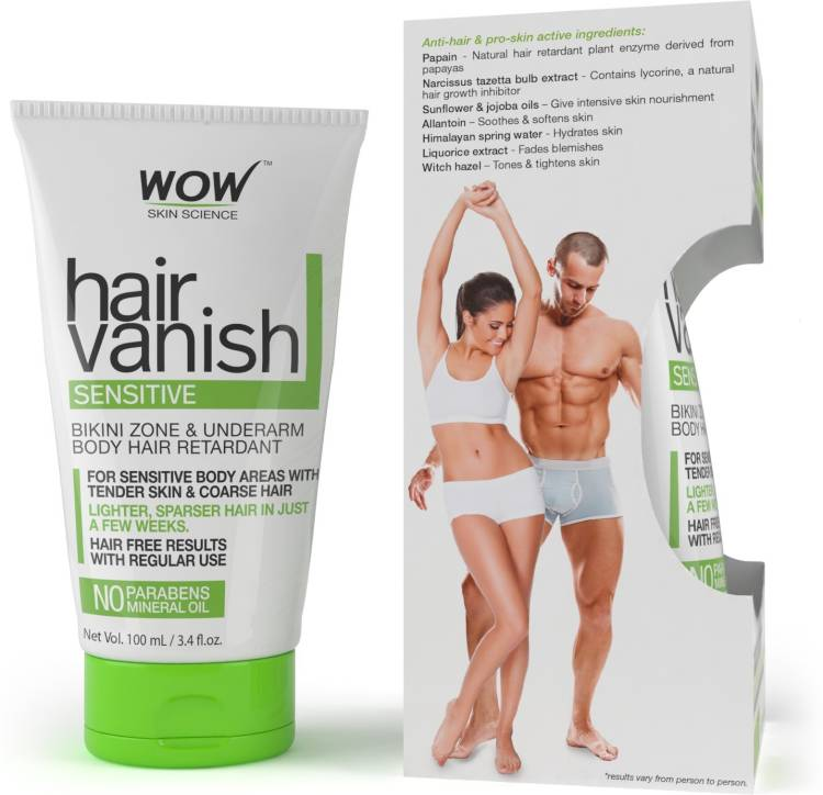 WOW Skin Science WOW Hair Vanish Sensitive - No Parabens & Mineral Oil (100mL) Cream Price in India