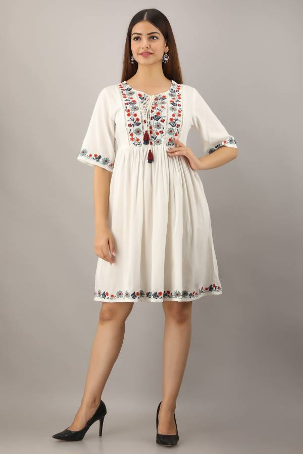 Women Fit and Flare White Dress Price in India