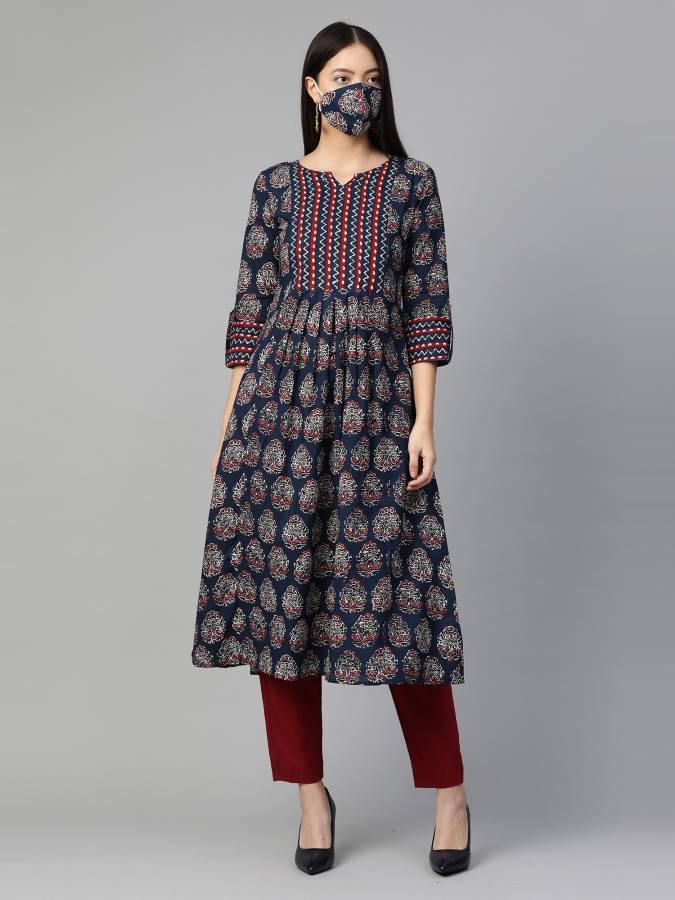 Women Printed Pure Cotton Anarkali Kurta Price in India