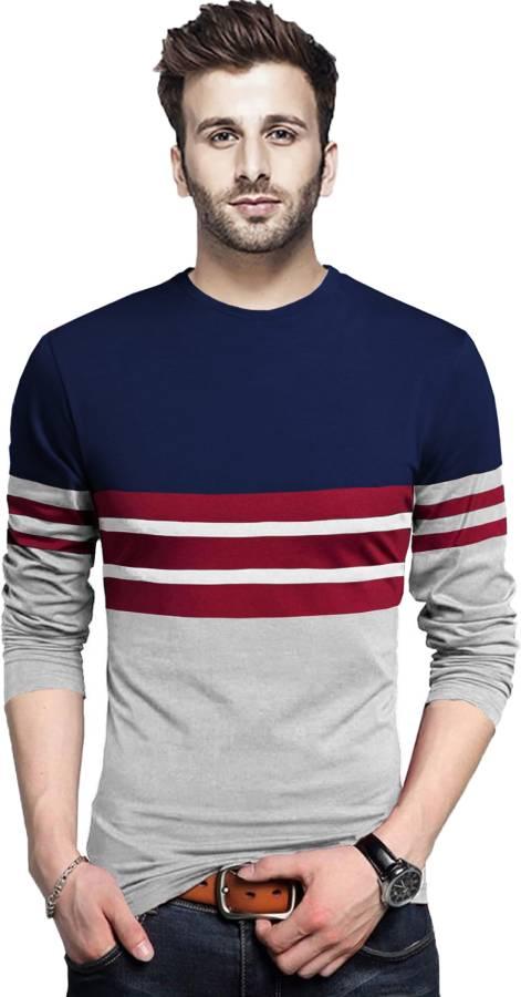 Striped Men Round Neck Dark Blue, Grey, Maroon T-Shirt