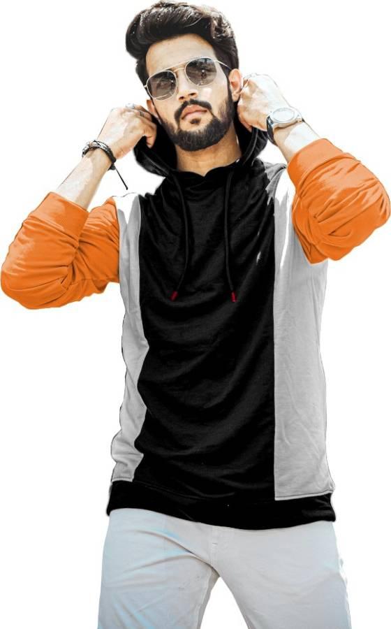 Solid Men Hooded Neck Orange, Black T-Shirt