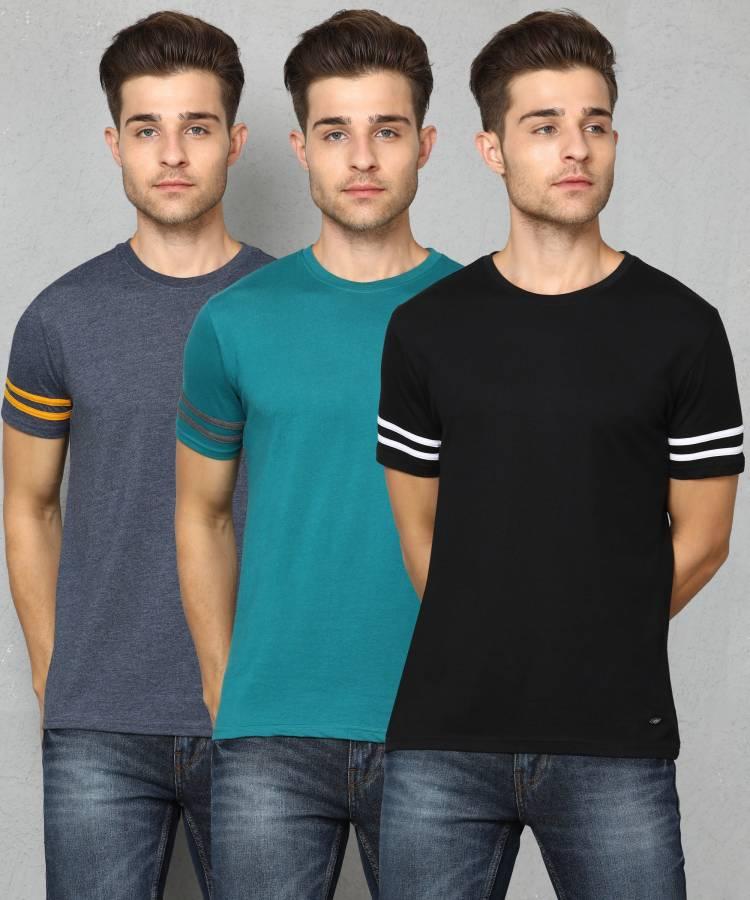 Solid Men Round Neck Multicolor T-Shirt Price in India