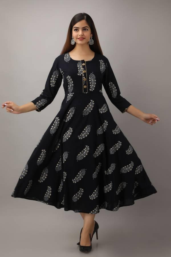 Women Printed Cotton Blend A-line Kurta Price in India