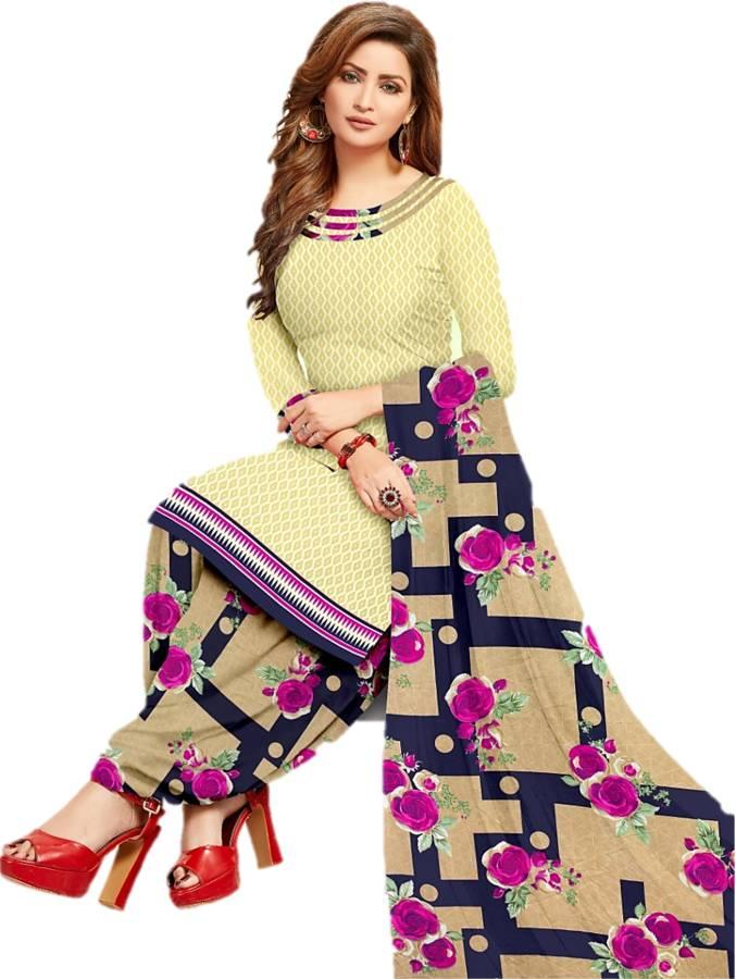 Sastvik Crepe Floral Print Salwar Suit Material