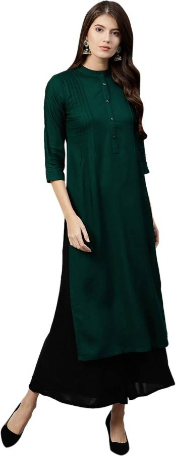 Women Solid Cotton Rayon Blend Straight Kurta Price in India