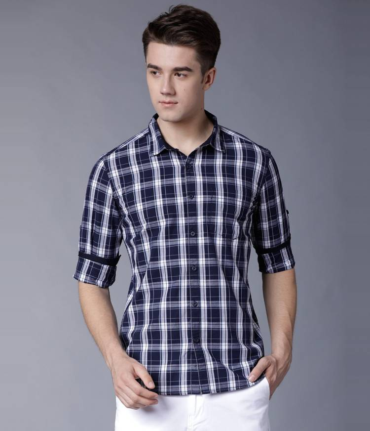Men Slim Fit Checkered Spread Collar Casual Shirt Price in India
