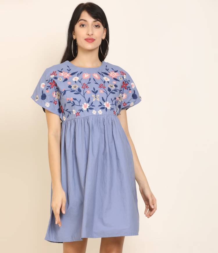 Women A-line Blue Dress Price in India