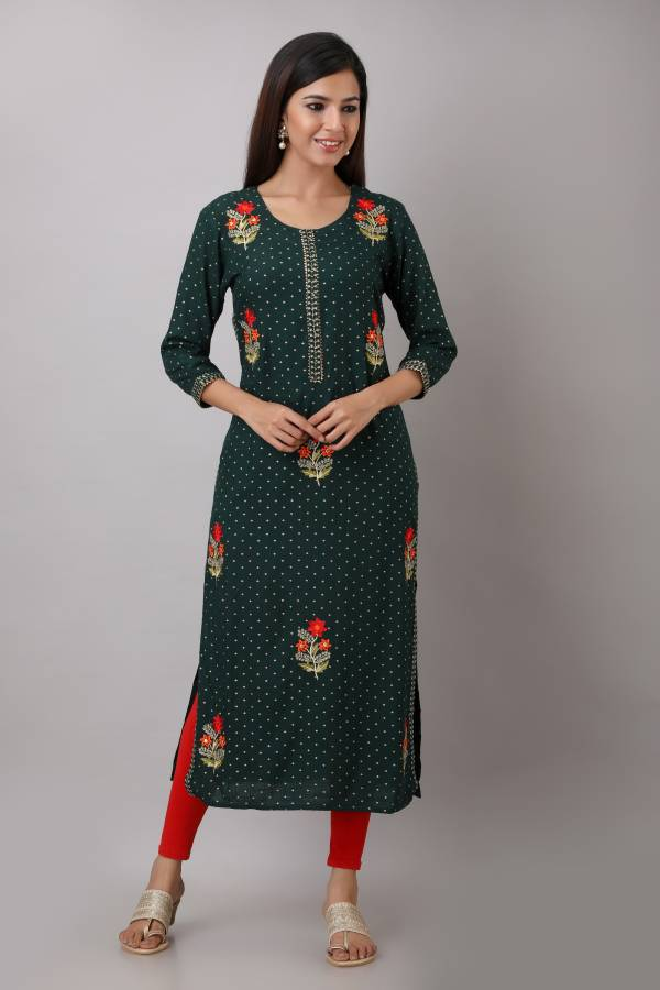 Women Embroidered Rayon Straight Kurta Price in India