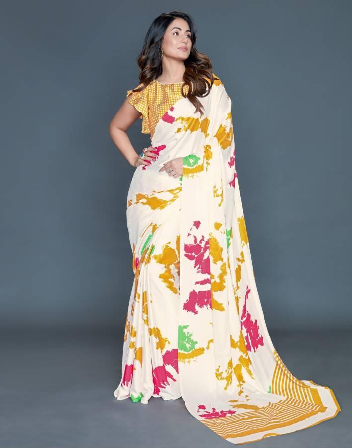 Graphic Print, Striped, Printed, Self Design Bollywood Satin Blend Saree Price in India