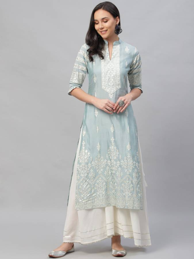 Women Printed Polyester Straight Kurta Price in India