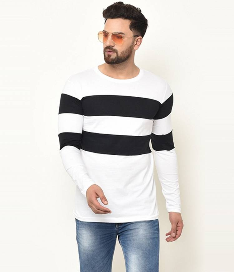Color Block Men Round Neck White T-Shirt