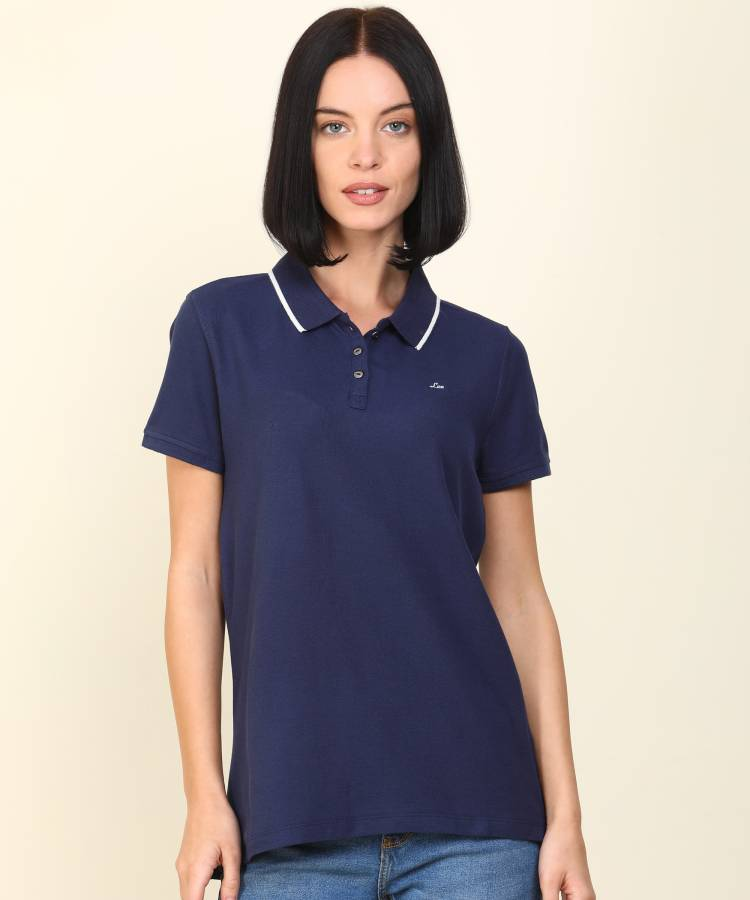 Solid Women Polo Neck Blue T-Shirt