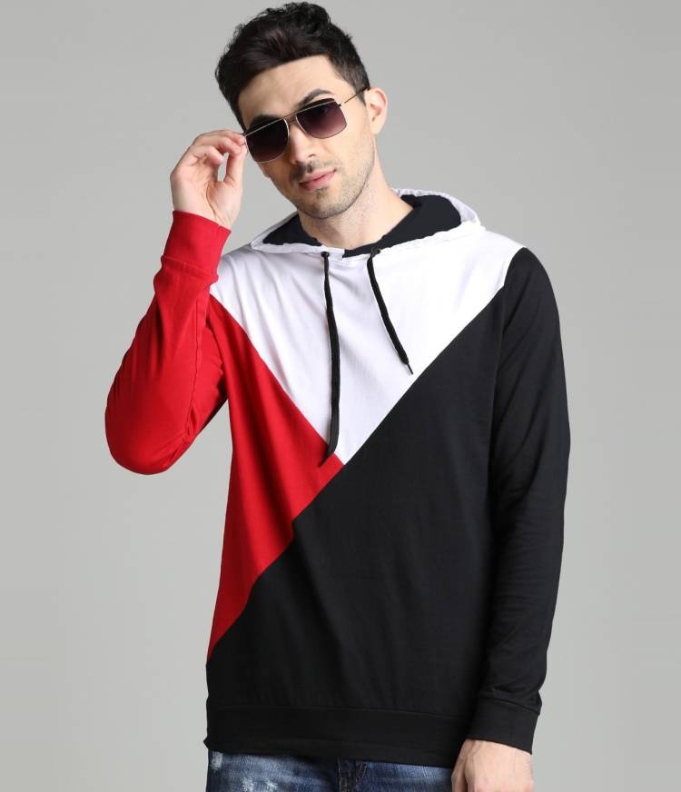 Color Block Men Hooded Neck Red, White, Black T-Shirt Price in India
