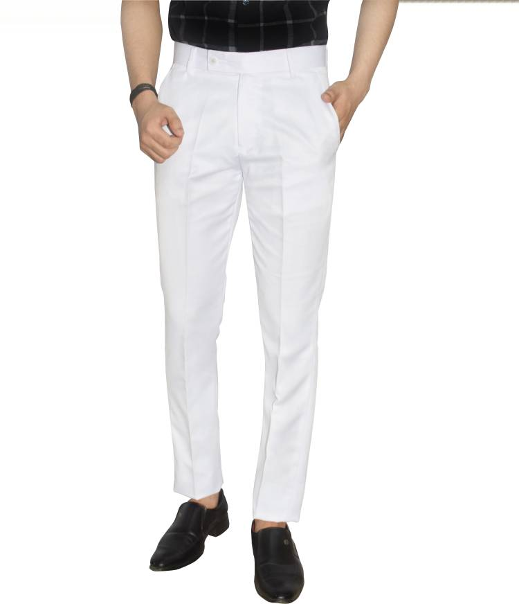 Slim Fit Men White Polyester Viscose Blend Trousers