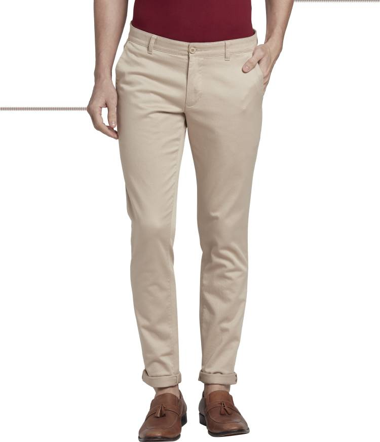 Tapered Men Beige Cotton Blend Trousers
